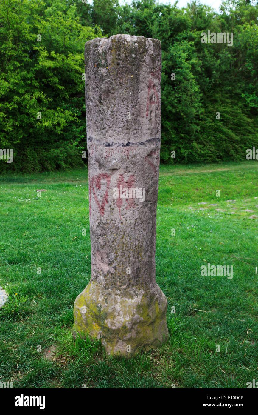 D-Kornwestheim, Strohgaeu, Unteres Gaeu, Langes Feld, Baden-Wuerttemberg, Ancient Rome, Leugenstein pillar at the Roman roads, milestone, landmark, stela - Stock Image