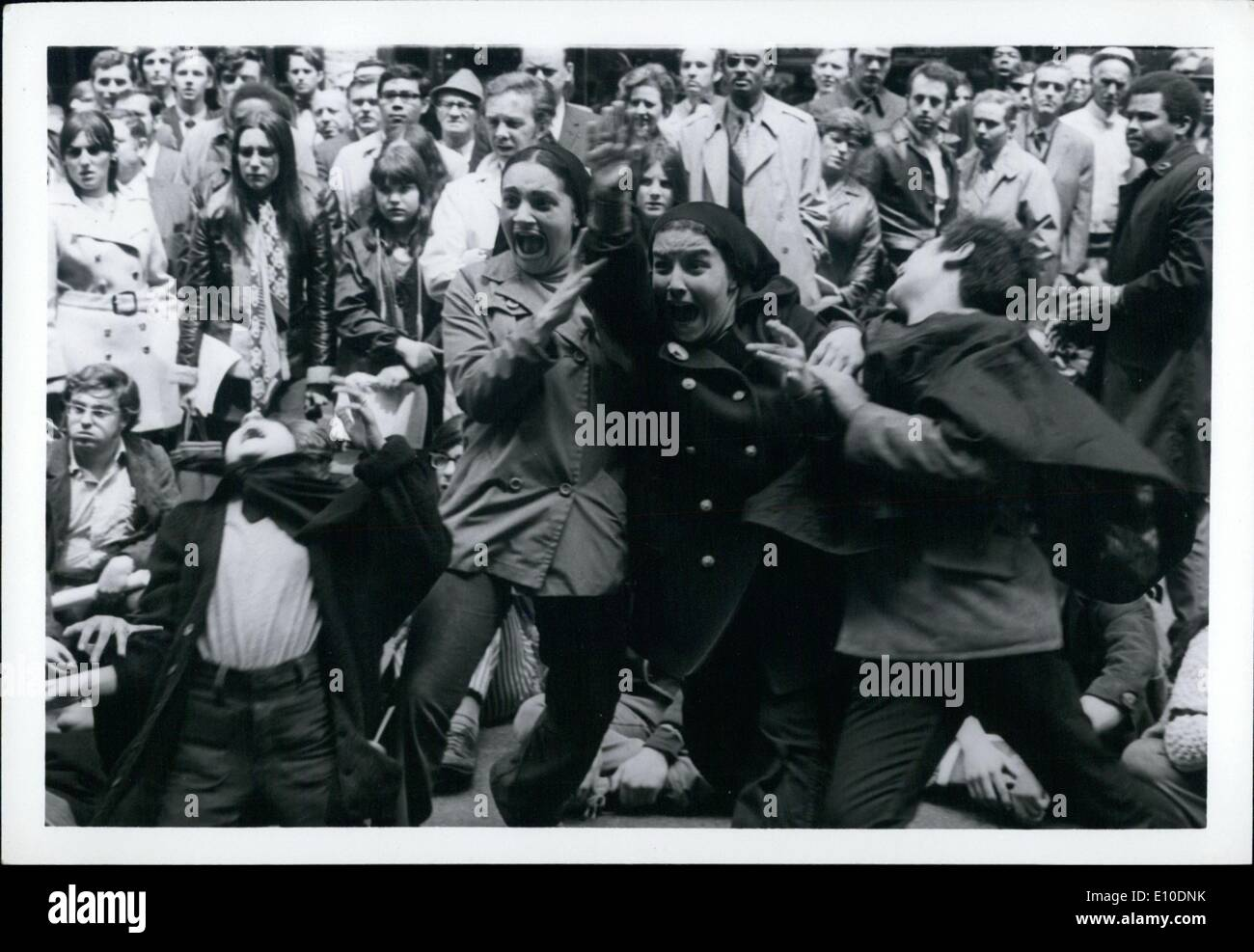 May 05, 1972 - Students from School of performing arts Street theater war and muder of Kent State Students at Dorchester. - Stock Image