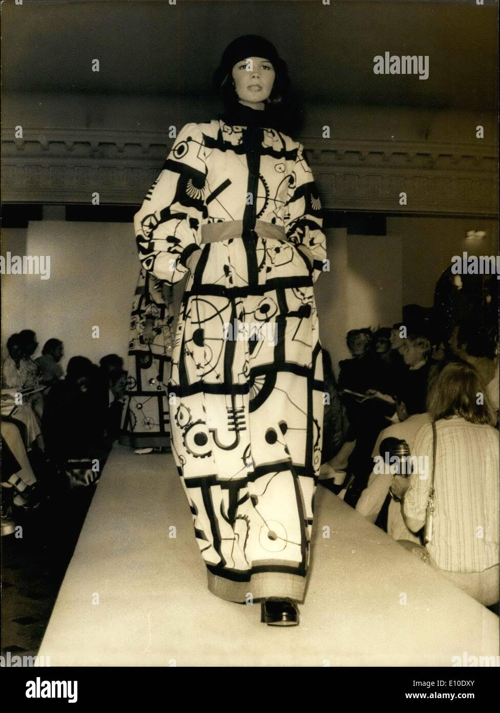 Jul. 24, 1972 - Model Walks Runway in Louis Feraud Black & White Print Dress - Stock Image