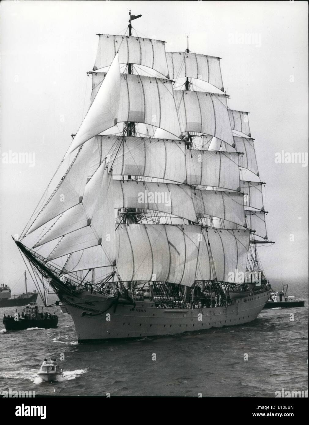 Aug. 08, 1972 - Ships set off from the Solent in the tall ships Race.: One of the largest ships which set off from the Solent today in the tall ships race from the Solent to the Skaw, Jutland,was the 'Dar Pomorza', from Poland. - Stock Image