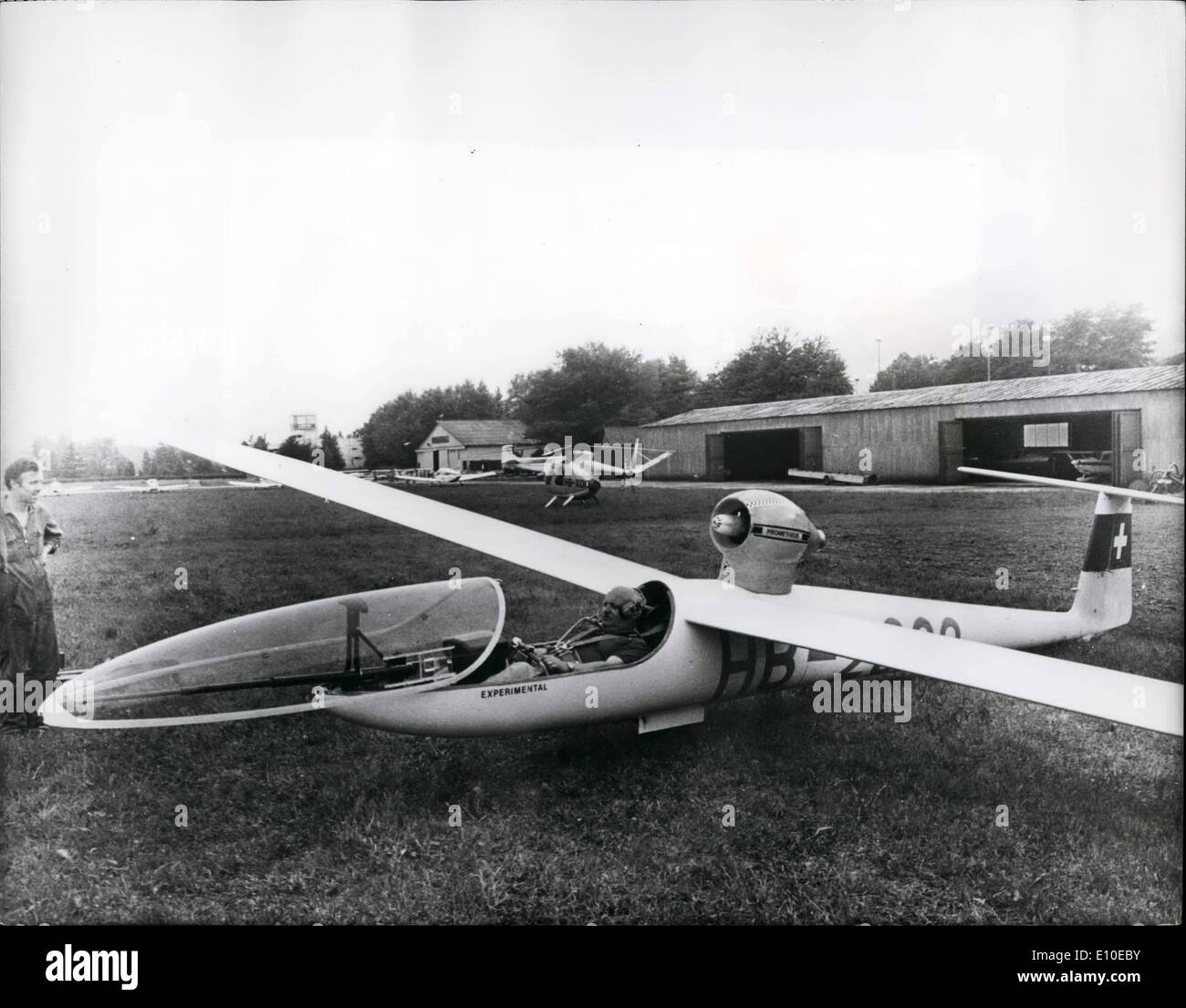 Aug. 08, 1972 - A Glider with jet-Propulsion On difference airports in Switzerland a new jet propulsion system for glider take- - Stock Image