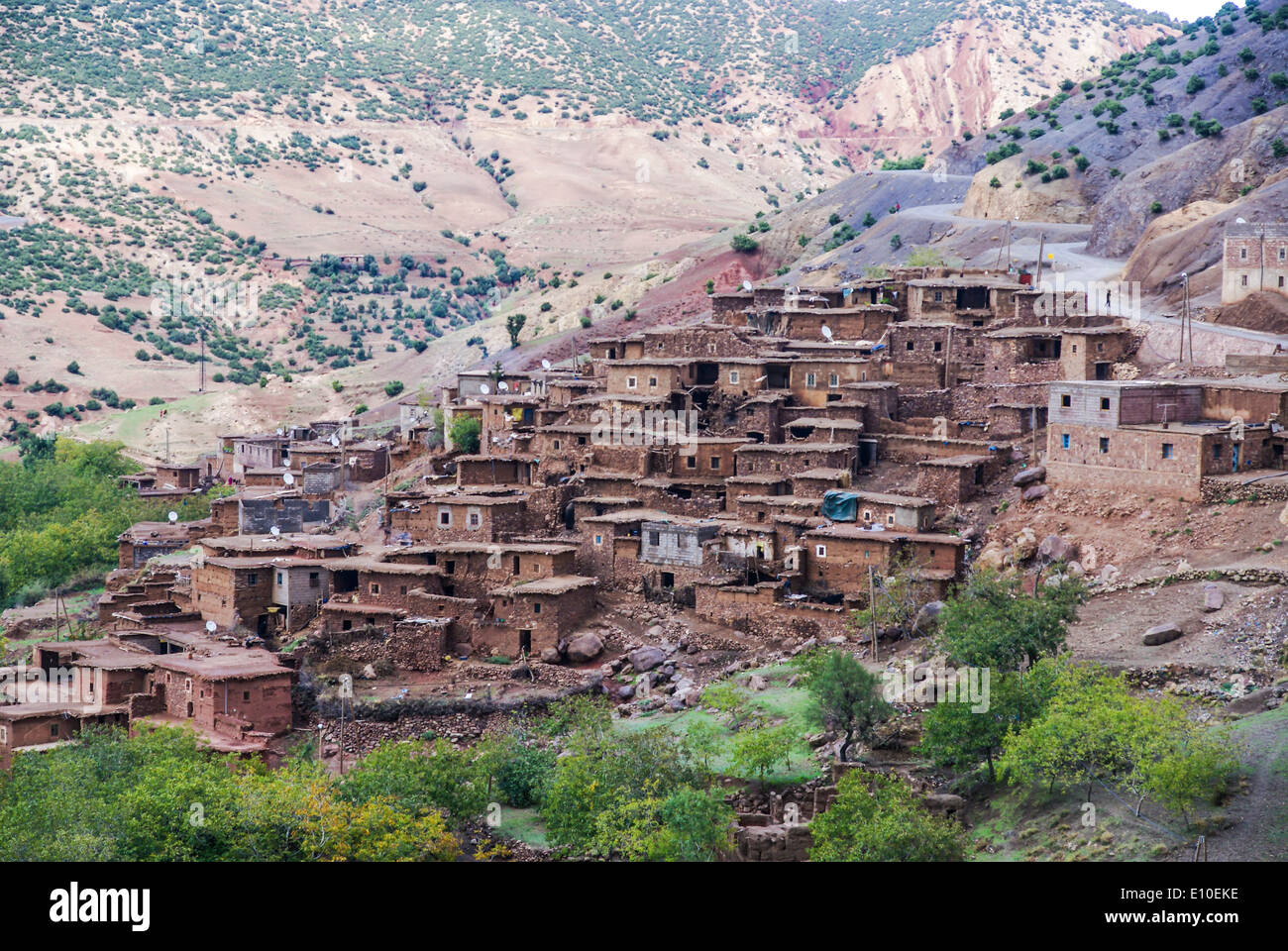 Berber village in the Ourika Valley in the High Atlas Mountains between Oukaimeden and Marrakech, Morocco - Stock Image