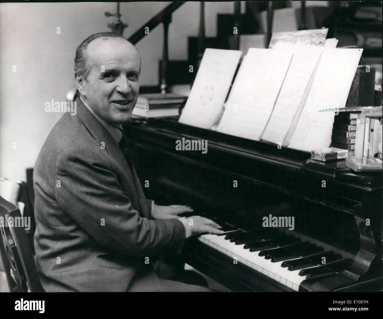 Composer Nino Rota Author Of The Theme From The Film The Godfather Seen At His Home Manifestly Satisfied Of The Success That The Music Of The