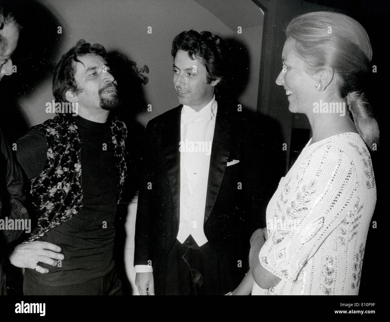 Choreographer Maurice Bejart chats with royals - Stock Image