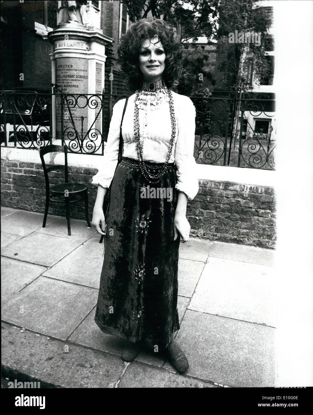 Oct. 10, 1972 - Lady Churchill attends the wedding of her grandaugther Arabella.: Arabella Churchill, 22-year-old grandaughter of Sir Winston and Lady Churchill, was married today to 23-year-old Scots schoolteacher James Barton, whose father is the headmaster of St. Thomas Moore School in Sournemouth. The ceremony took place at the Essex Unitarian church, Kensington, and Lady Churchill was present. Photo shows:- April Ashley pictured after attending the wedding. - Stock Image