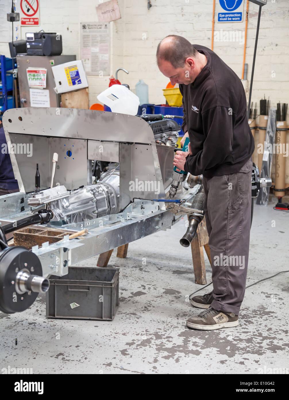 A aluminum chassis of a car at the Morgan Motors Car factory - Stock Image