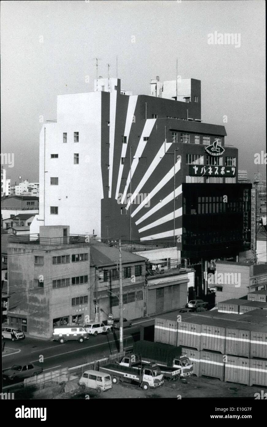 Jan. 01, 1973 - Rising sun flag on Buiding causes public upset. The owner of a Tokyo buildings is under fire from the public for painting a huge Imperial Japanese Navy flag as a wall decoration. The building owned by a sporting goods maker is located in Tokyo 's Sumide ward said that as the firm is named :''Asahiya'' which means rising Sun they thought was a good idea to paint the flag. Due to the comments they may paint it dark red. - Stock Image