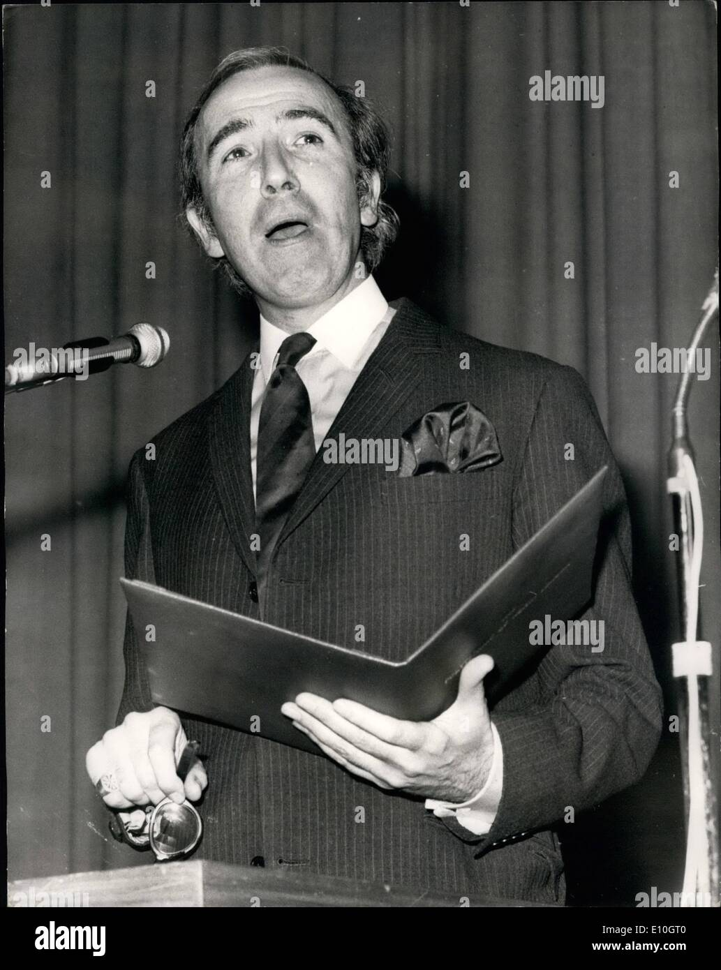 Nov. 11, 1972 - New ''Students Minister'' Gets Stromy Reception: Mr. Norman St.John Stevas, the new Parliamentary Under-Secretary of State, Department of Education and Science, today received a stormy reception at the Queen Elizabeth Hall, South Bank, London when he attended the Designation ceremony of the North London Polytechnic, Holloway. It was one his first engagements since his appointment in Mr. Heath's . Photo Shows Mr. Norman St. John Stevas making his speech at today's ceremony. - Stock Image