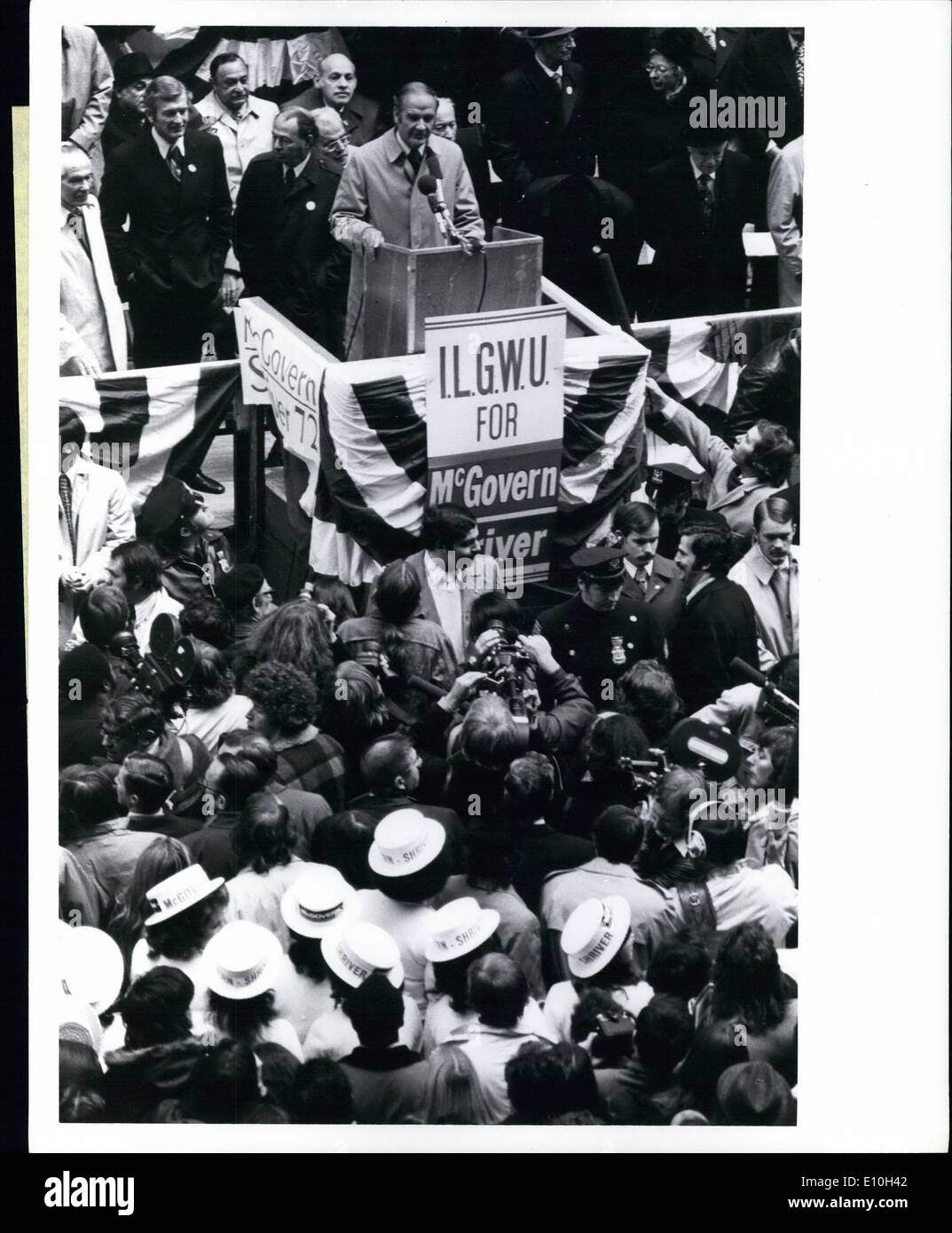 Nov. 11, 1972 - Democratic Candidate for President Senator George McGovern makes the traditional late - campaign visit to New York's garment district. He spoke to a crowd of more than 20,000 people. On the platform were Mayor Lindsay, former Mayor Robert Wagner, International Ladies Garment Workers Union Chief Louis Stulberg, former ILGWU National Democratic Chairman Jean Westwood. Senator Edward Kennedy closed what McGovern called ''the best rally we've had at any place in this campaign' - Stock Image