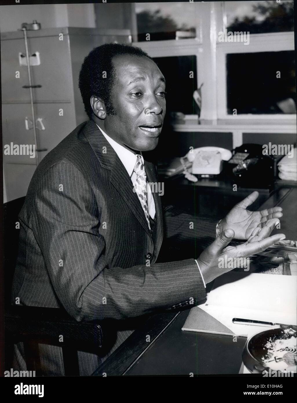 Feb. 02, 1973 - Dr. Njoroge Mungai, Foreign Minister of Kenya. Born Dagoreti, Kenya, 1926. Educated Alliance High School, Universities of Fort Hars (South Africa), Stanford, Columbia. Practised Medicine in Kenya. 1959- 1963. Elected Member of the House of Representatives, 1963. Minister for Health and Housing, 1963. Minister of Defence, 1965. Minister of Foreign Affairs, 1969. Personal physician to the President. Married to Lillian Njeri Njenga, 1972. Credits: Camerapix - Stock Image