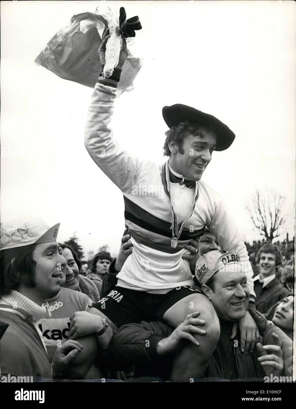 Feb. 02, 1973 - Peter Klaus Thaler of West Germany winner the world Amateur Cycle Cross Championship at Crystal Palace; Photo Shows Peter Klaus Thaler of West Germany being chaired after winning the Amateur World Championship Cycle Cross title at Crystal Palace today. - Stock Image