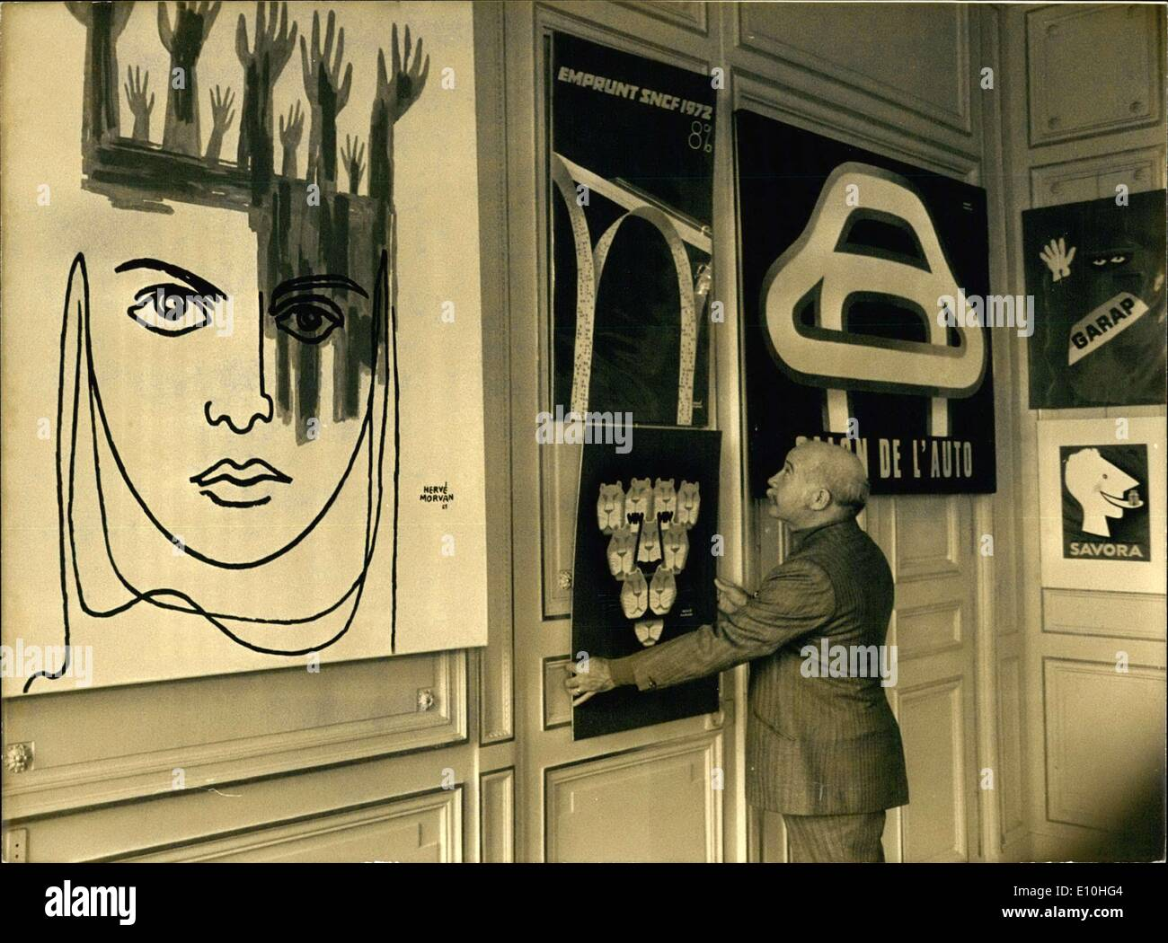Nov. 17, 1972 - Herve Morgan Photographed in Front of Posters in Exhibit in Paris E - Stock Image