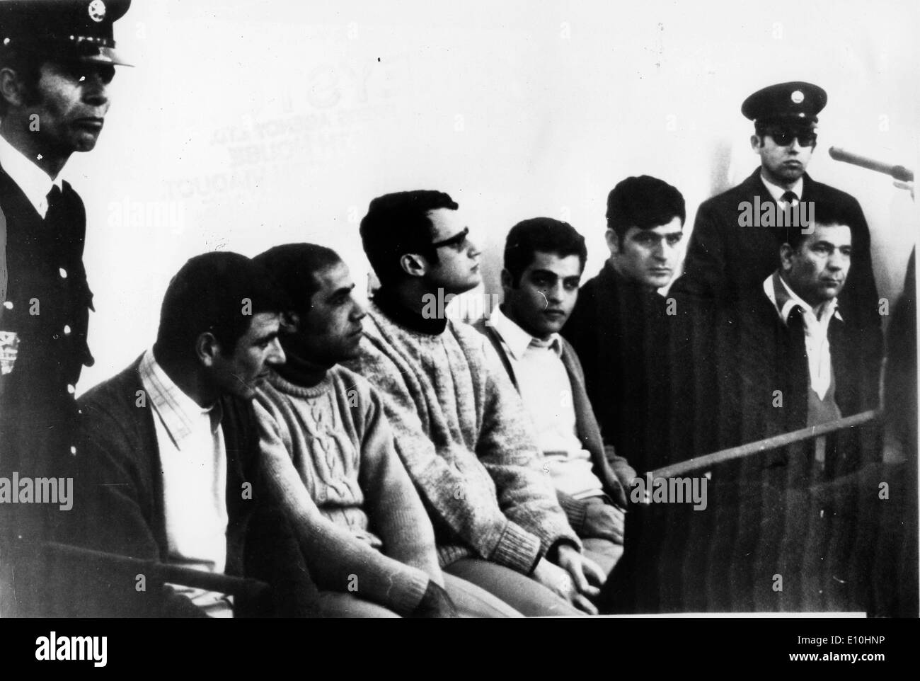 The six leaders of the Arab Jewish espionage and sabotage in court in Haifa. Muslim Religion War Jewish - Stock Image