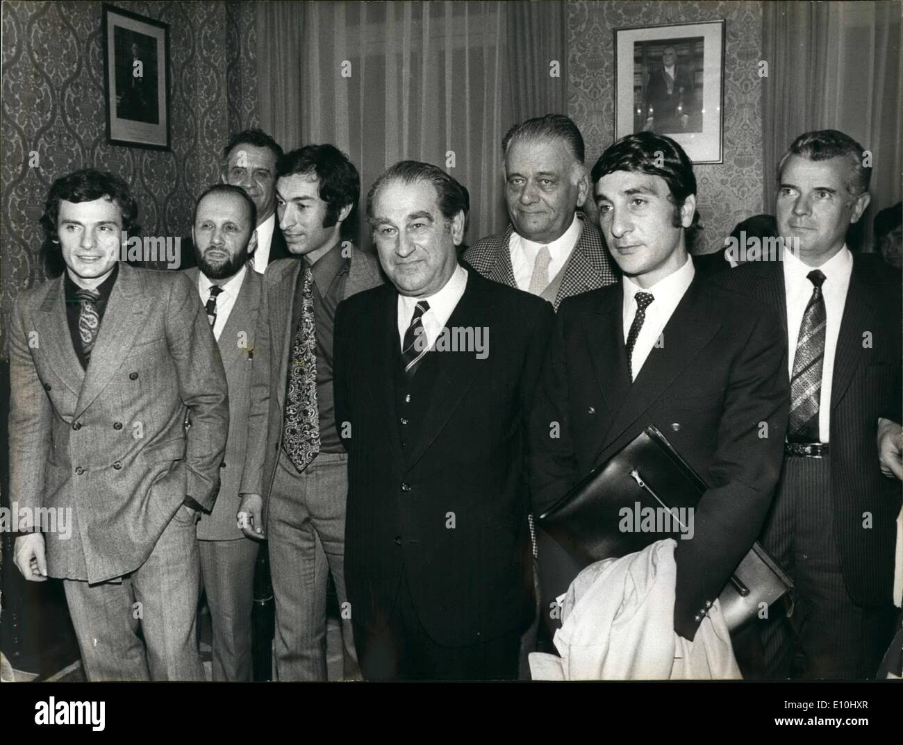 Dec. 12, 1972 - SPORTS AND YOUTH MINISTER AND ARBITER IN FOOTBALL ROW: M. CONITI, THE FRENCH MINISTER OF SPORTS AND YOUTH RECEIVED THE LEADERS OF THE FOOTBALL ASSOCIATION AND SOME OF THE LEADING PROFESSIONAL PLAYERS IN AN ATTEMPT TO RESOLVE THE CRISIS BROUGHT ABOUT BY RECENT INCIDENTS BETWEEN THE LEADERS AND THE PLAYERS. OPS: M. COMITI (CENTRE) PICTURED WITH FROM L TO R. J.C. BRAS, RENE GALLIAN, JACQUES BETRANRD, PIAT (HCAIRLAN OF THE PROFESSIONAL FOOTBALL PLAYERS UNION), JEAN SADOUL AND PAUL ORSATTI. - Stock Image