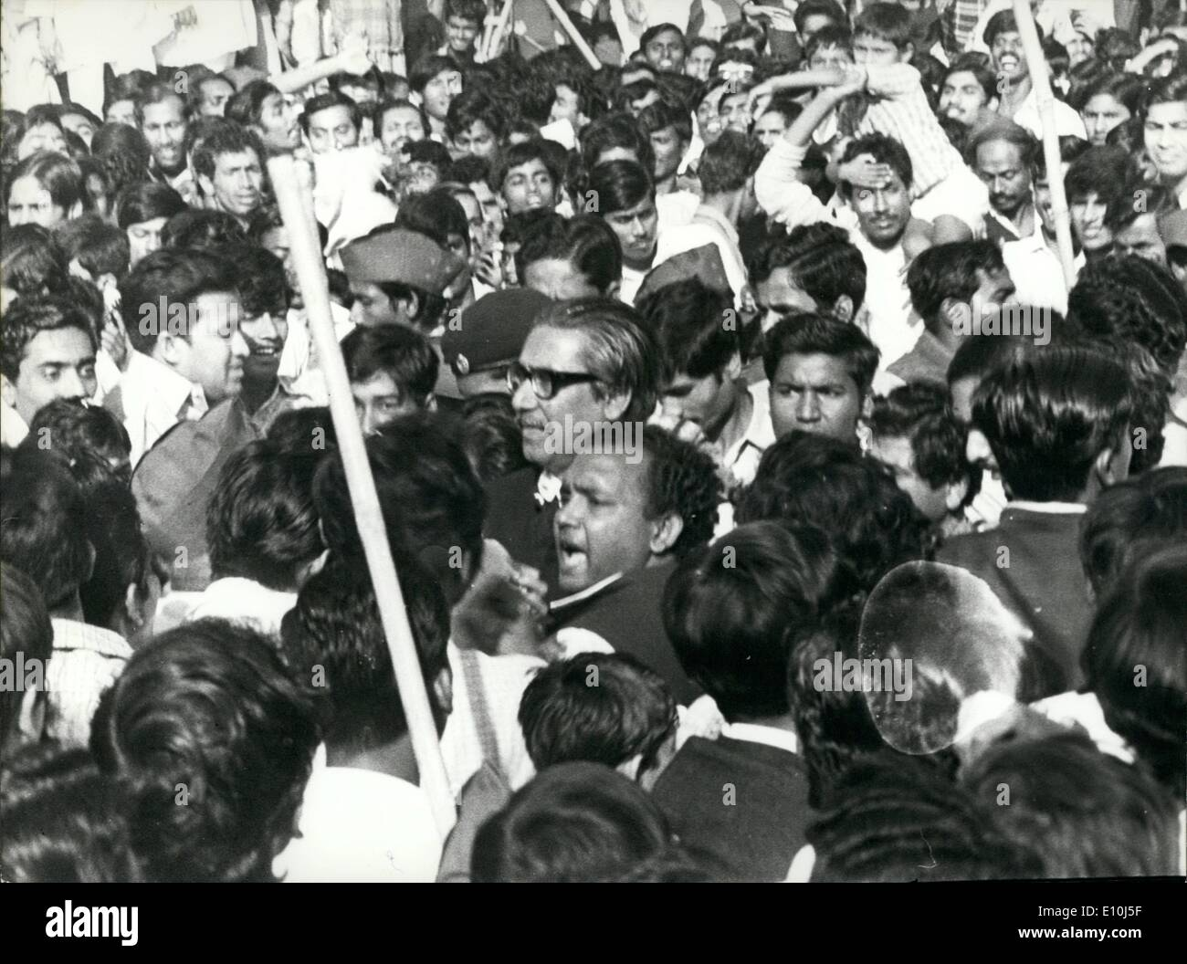 Mar. 03, 1973 - First General Election in Bangladesh.: Sheik Mujibur Rahman, prime minister of Bangladesh, being mobbed by people as he comes to the Martyr's Column to pay his respect. People call Mujubur Rahman ''Father of the Nation' - Stock Image