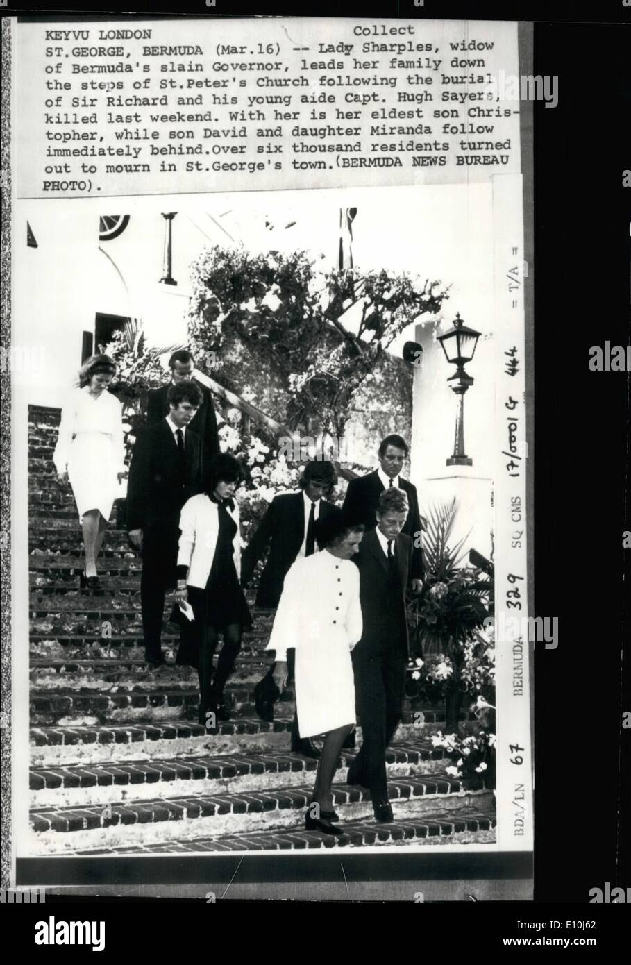 Mar. 03, 1973 - St. George, Bermuda: Lady of Bermuda's slain Governor, leads her family down the steps pf St. Peter's Church following the burial of Sir Richard and his young aide Capt. Hugh Sayers, killed last weekend. With her us her eldest son Christopher, while son David and daughter Miranda follow immediately behind. Over six thousand residents turned out to mourn in St. George's town. Funeral of Slain Governor Of Bermuda: The State Funeral of Sir Richard Sharples, the murdered Governor of Bermudas, took place yesterday - Stock Image