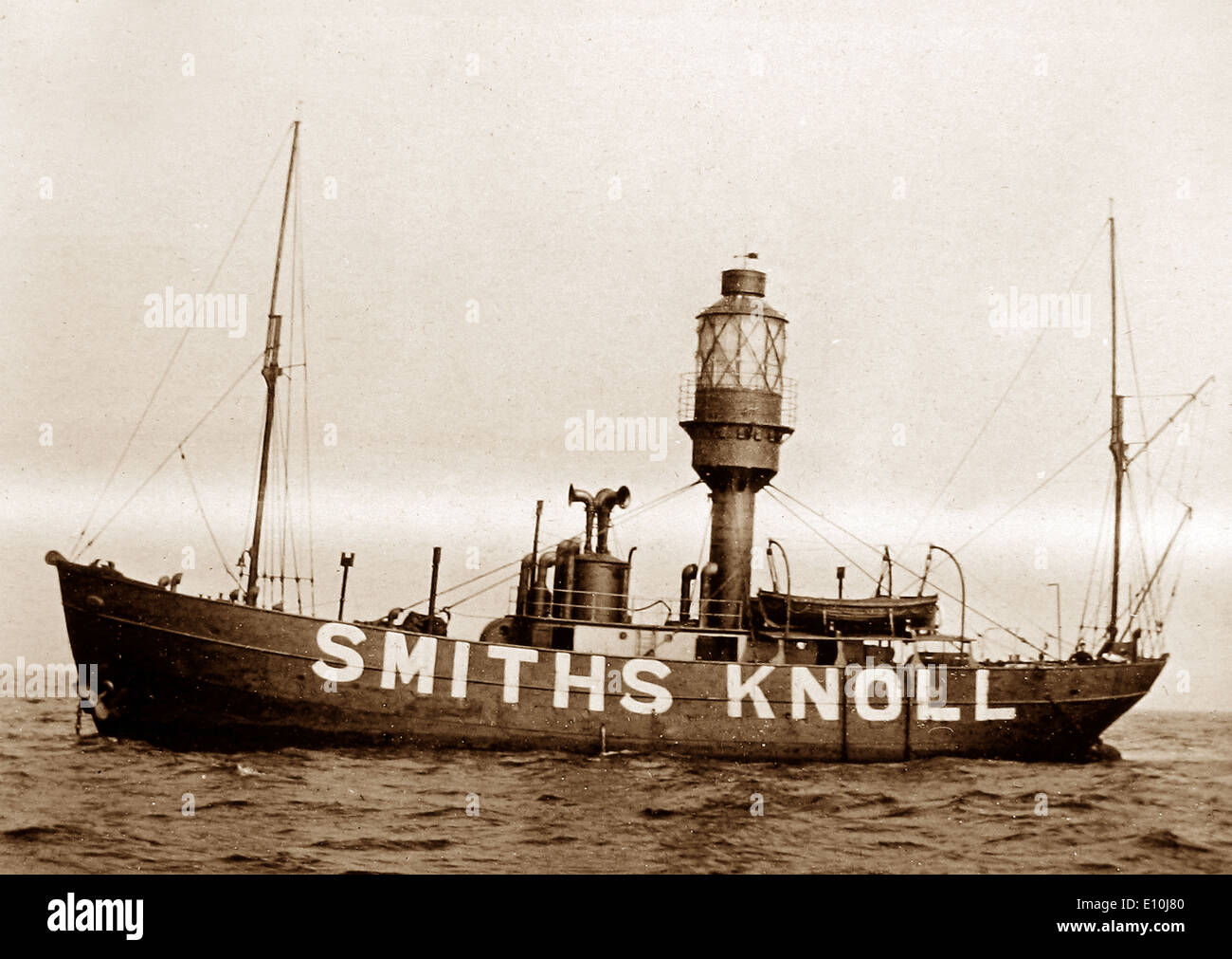 Smiths Knoll Lightship North Sea early 1900s - Stock Image