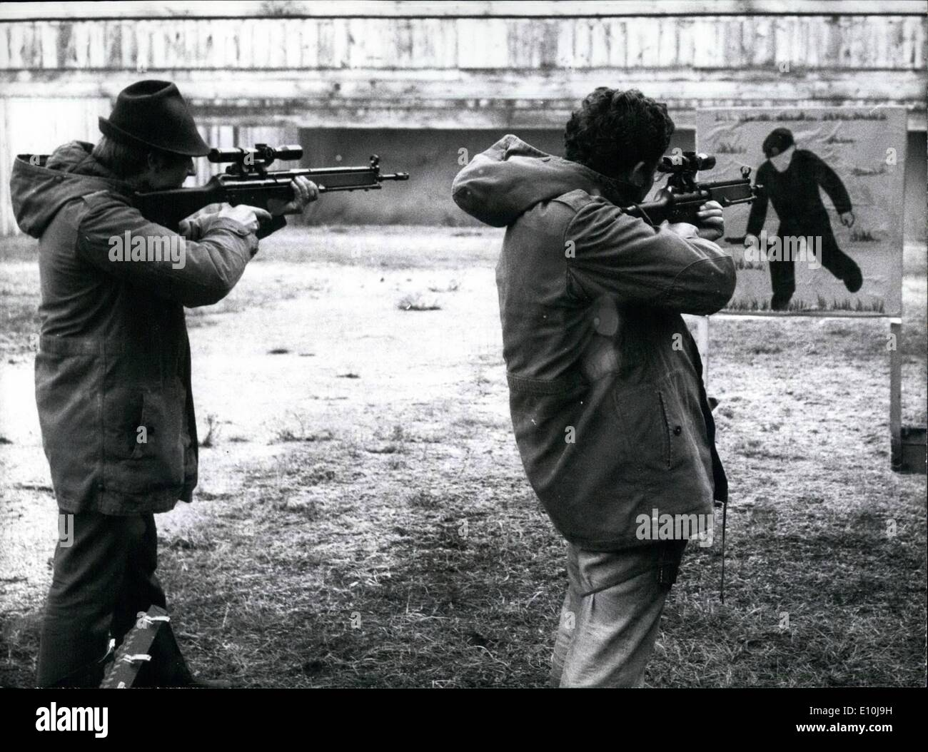Dec. 12, 1972 - Sharp Shooter Training To Consumer Terrorism And Force The Munich bloodbath during the Olympic Games 1972 caused to a scheme for setting up a sharpshooter-training for special policemen. At present 30 sharpshooters from the Munich Police for force (picture) are on an intensive course which will give them proficiency with both service revolvers and rifles by the end. The practical formation comprises a training with shooting on targets, air-balloons and mobile targets such as silhouette targets - Stock Image