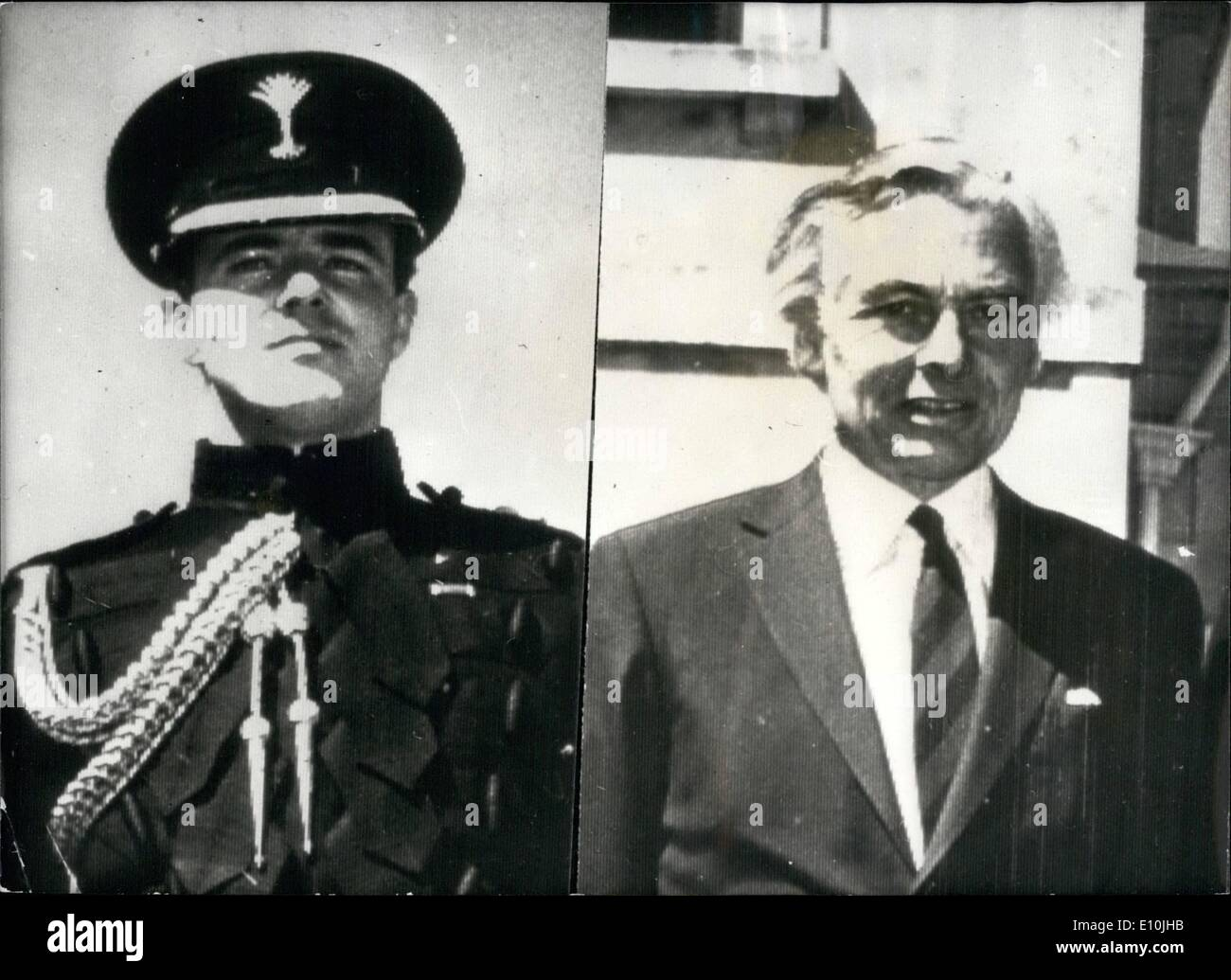Mar. 03, 1973 - Bermuda Governor Shot: A State of Emergency was declared in Bermuda after the killing of the Governor, Sir Richard Sharples and his side-De-camp, Captain Hugh Sayers - both of whom were shot dead on Saturday as they strolled in the grounds of Government House. Picture Shows: Captain Hugh Sayers (left) and Sir Richard Sharples (right), pictured at Government House on the occasion of Receiving the commanding officer of the Norwegian destroyer H.N.M.S.Haakon VII which docked at Hamilton, Bermuda, on Friday. - Stock Image