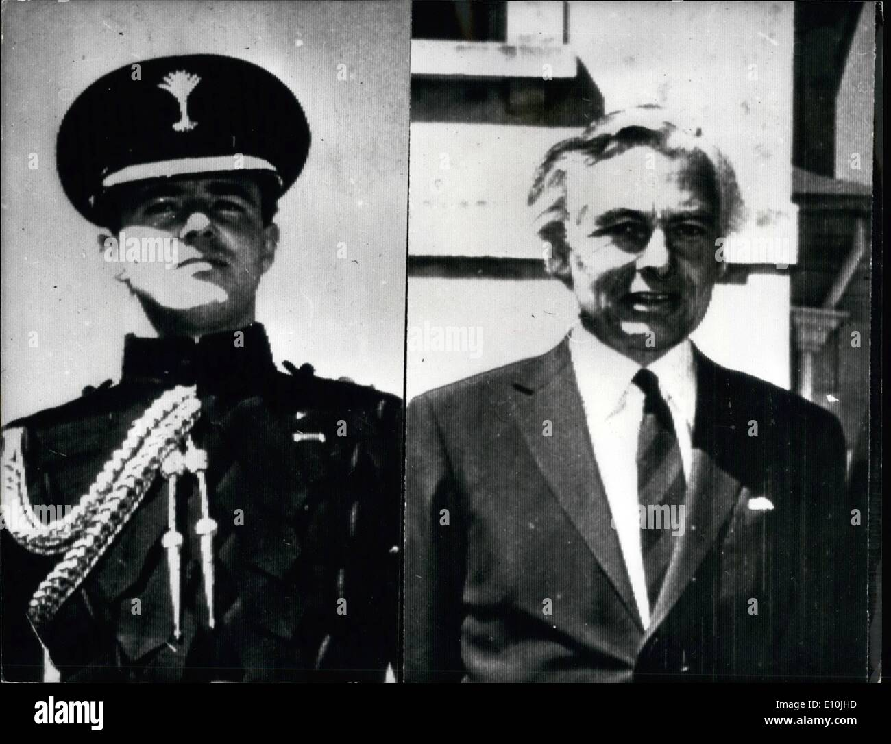 Mar. 03, 1973 - Bermuda Governor Shot: A state of Emergency was declared in Bermuda after the killing of the Governor, Sir Richard Sharples and his aide-De-camp, captain Hugh Sayers - both of whom were shot dead on Saturday as they strolled in the grounds of Government House. Photo Shows Captain Hugh Sayers (left) and Sir Richard Sharples (right), pictured at Government House on the occasion of receiving the commanding officer of the Norwegian destroyer H.N.M.S. Haakon VII which docked at Hamilton, Bermuda, on Friday. - Stock Image