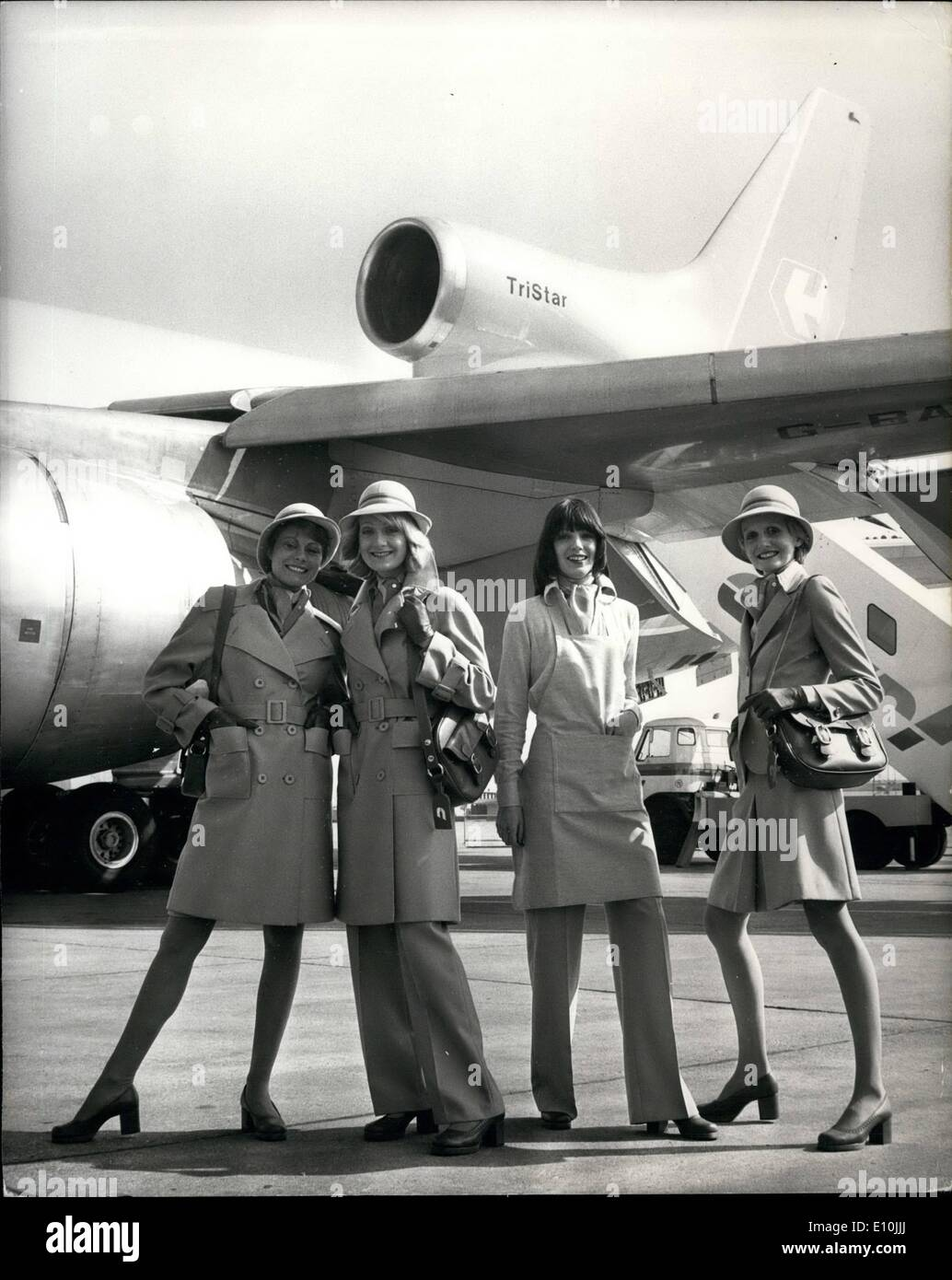 Mar. 03, 1973 - Court Line Introduces new uniforms designed by Mary Quant: New stewardesses uniforms for Court Line - Stock Image