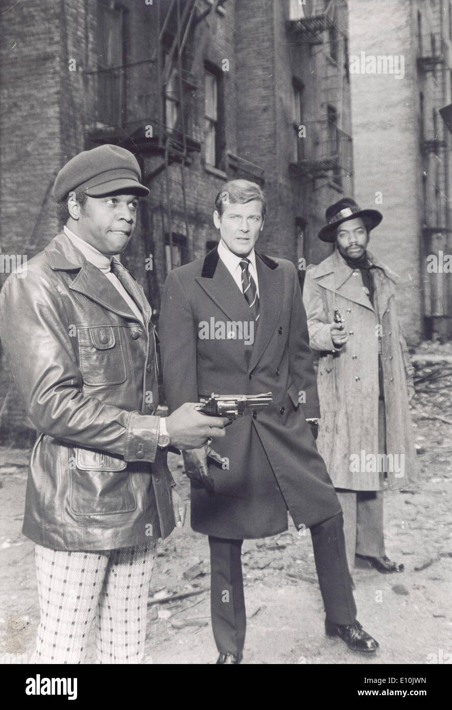 Actor Roger Moore on set of James Bond - Stock Image