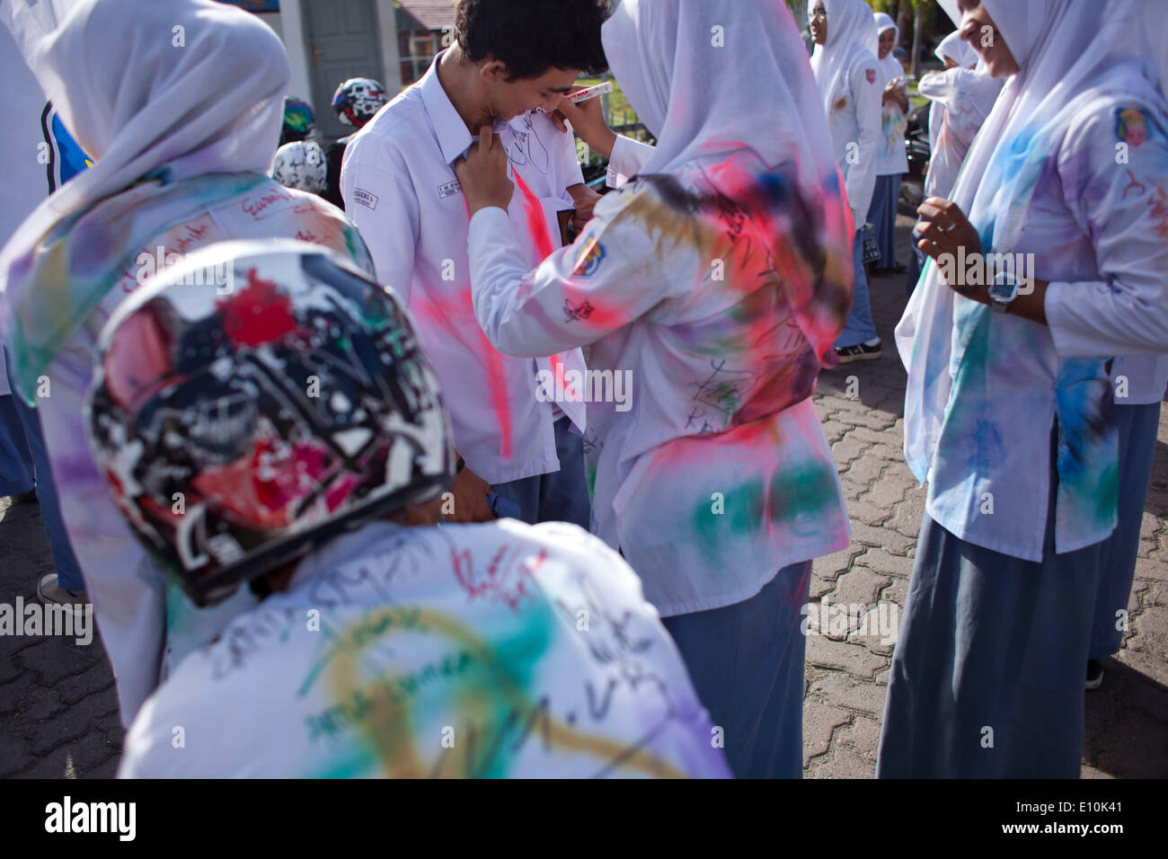 May 20, 2014 - Banda Aceh, Aceh, Indonesia - Students from a high school in Banda Aceh celebrates their graduation Stock Photo
