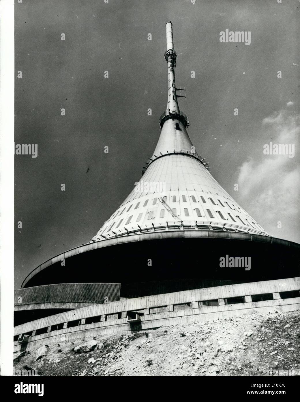 May 05, 1973 - The ''Structure of the Cosmic age'' On top of mount Jested , the highest peak of the Lusation Mountains in Northern Bohemia, which may be easily reached from Libero by a cable-way, serves not only as television re-translation tower, but is to serve not only as television re-translation tower, but is to serve as hotel and restaurant shortly as work on the interior outfit is nearing completion. The structure was designed by architect ING. Karrek Hubacek, who was awarded the international A - Stock Image