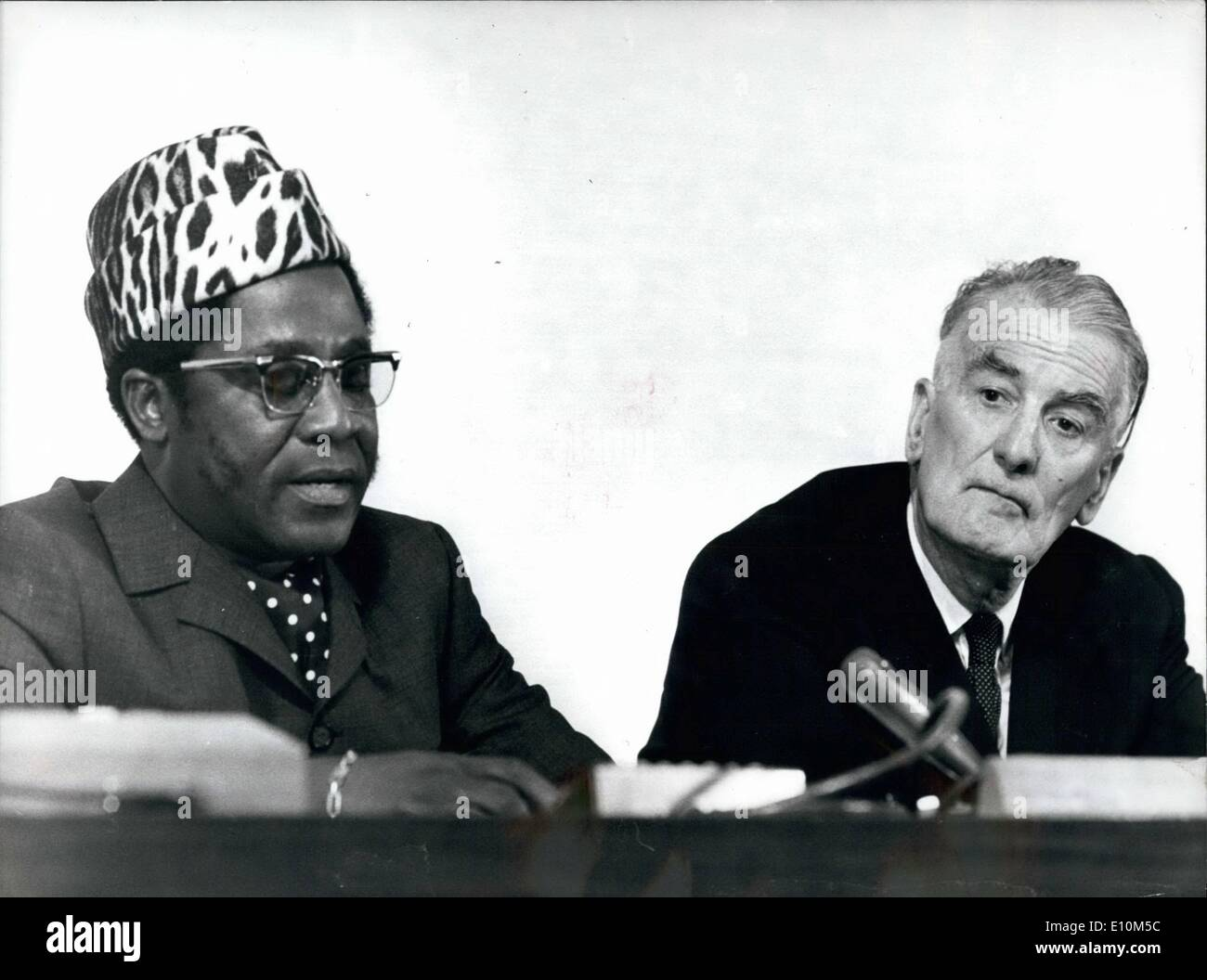 Jun. 06, 1973 - Leaders of the ILO Conference; Geneva, Switzerland; Here are two of the leading personalities of the 58th International Conference of the International labor Organization (ILO) that has started in Geneva. To the right the ILO general manager Wilfred Jenks (GB), left the President of the Conference, Tshiabola, Bintu's. - Stock Image