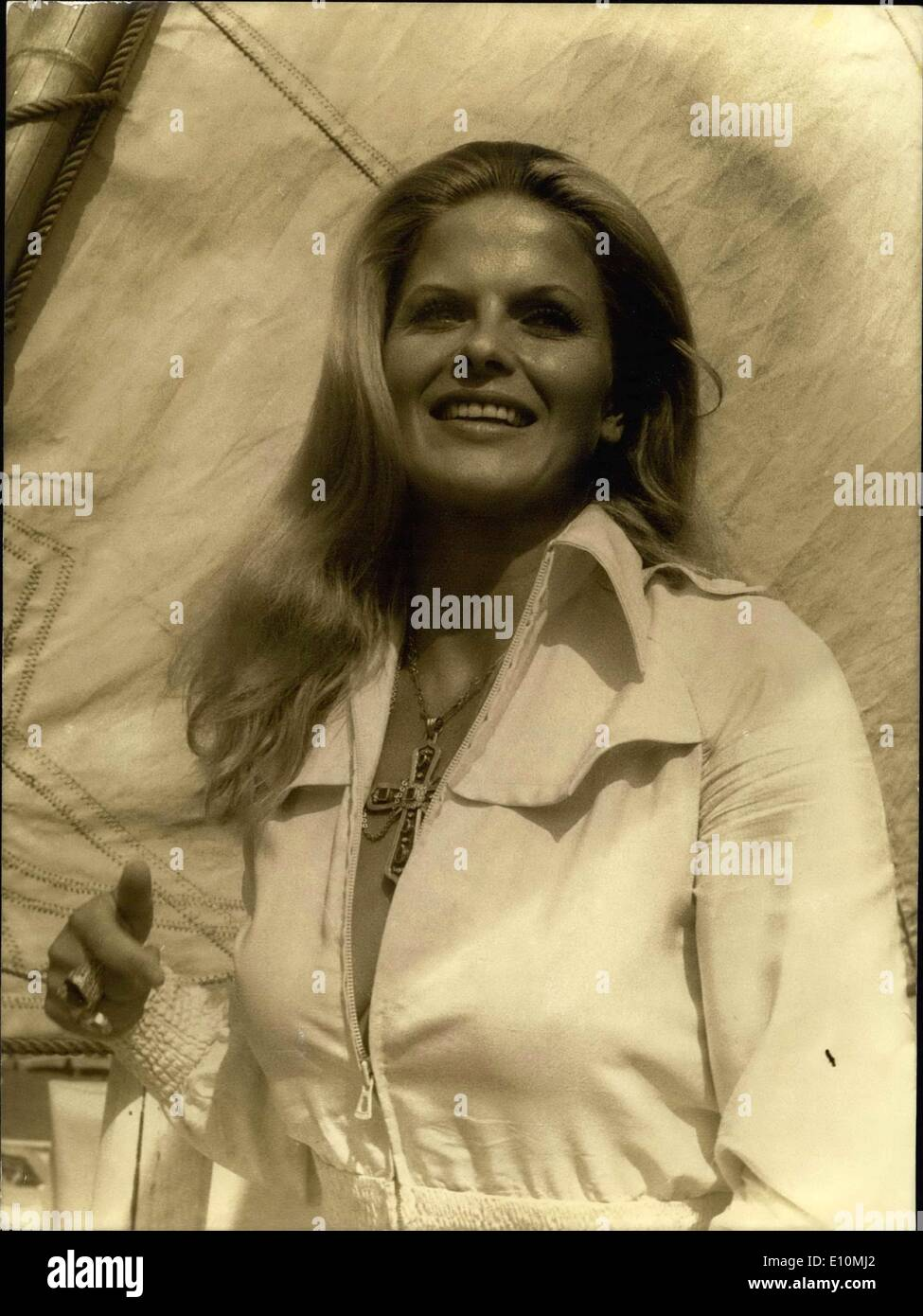 Jul. 16, 1973 - Karin Schubert, the star of ''La Punition,'' directed by Pierre-Alain Jolivet, came to spend a few days on the French Riviera. Here she is walking on the ''Siesta'' in Antibes. - Stock Image