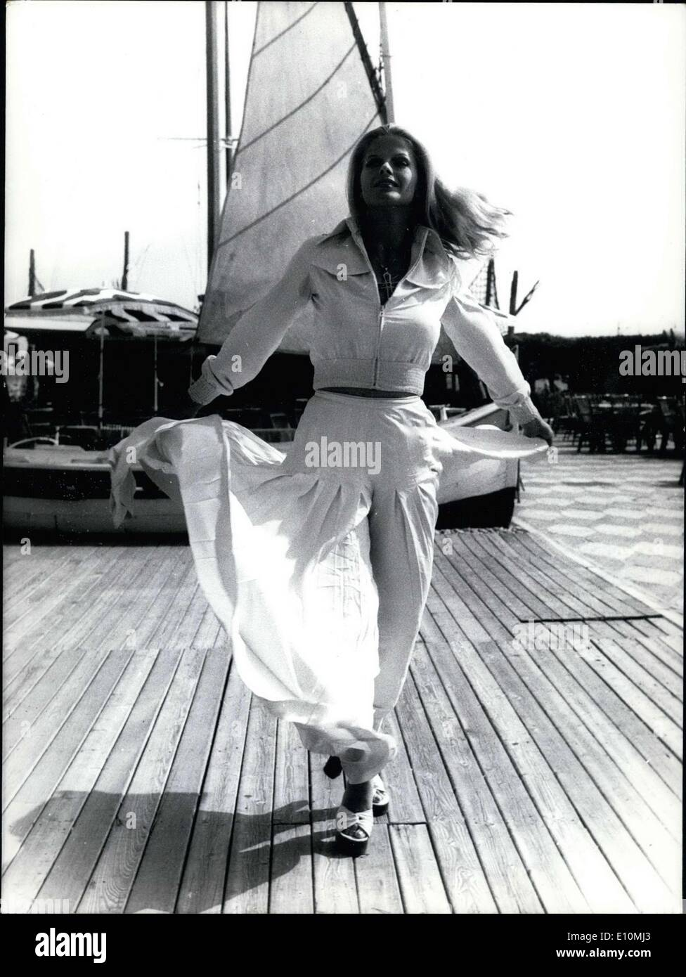 Jul. 16, 1973 - Karin Schubert, the star of Pierre-Alain Jolivet's ''La Punition,'' spent a few days on the French Riviera. Here she is walking on the ''Siesta'' in Antibes. - Stock Image