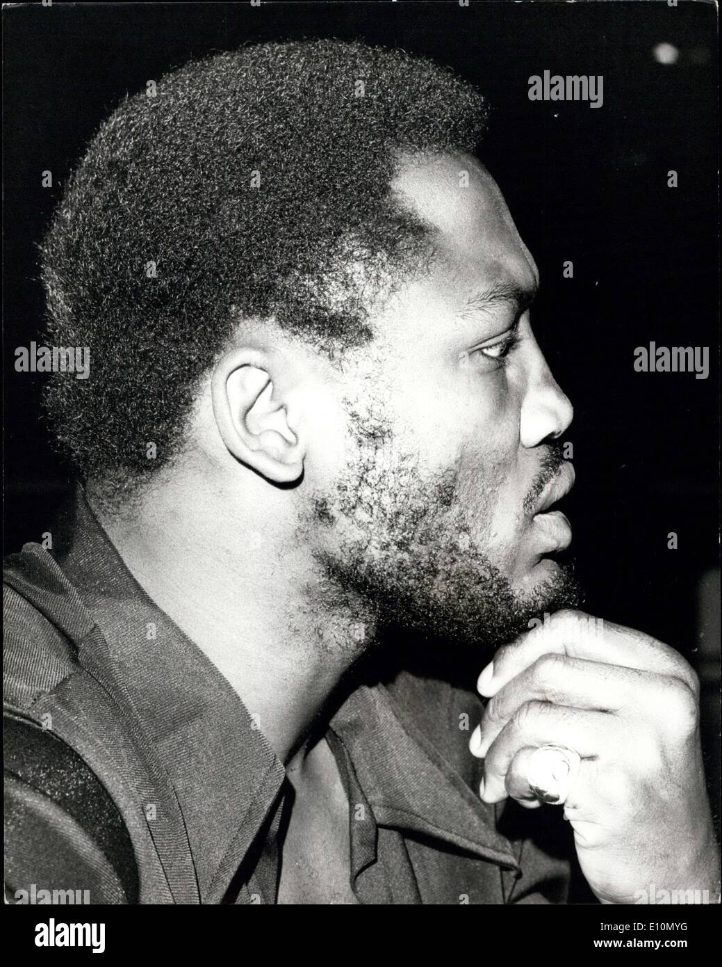 Jun. 26, 1973 - Will Frazier's Beard have to go: The former world heavyweight champion, Joe Frazier, together with Britain's Joe Bugner who meet at Earls Court, London, next Monday, went along to Epire Ballroom, Leicester Square, to go over the rules of the fight, during which Frazier was in dispute with Bugner's manager, Andy Smith as to whether he will be allowed to retain his beard. The B.B.B. of C are considering the issue. Photo shows Joe Frazier thoughtfully fingers his beard, today. - Stock Image