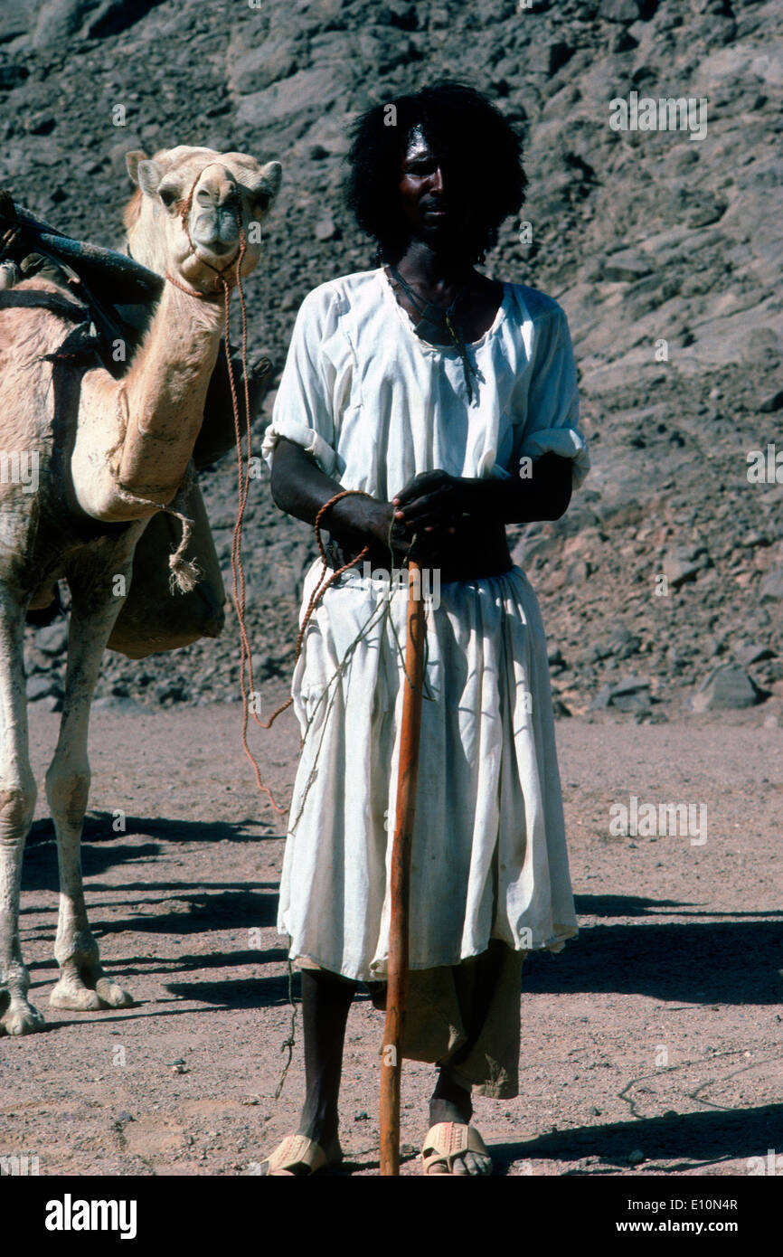 Beja/Bishari man travelling in camel caravan from Upper Egypt to Sudan. - Stock Image