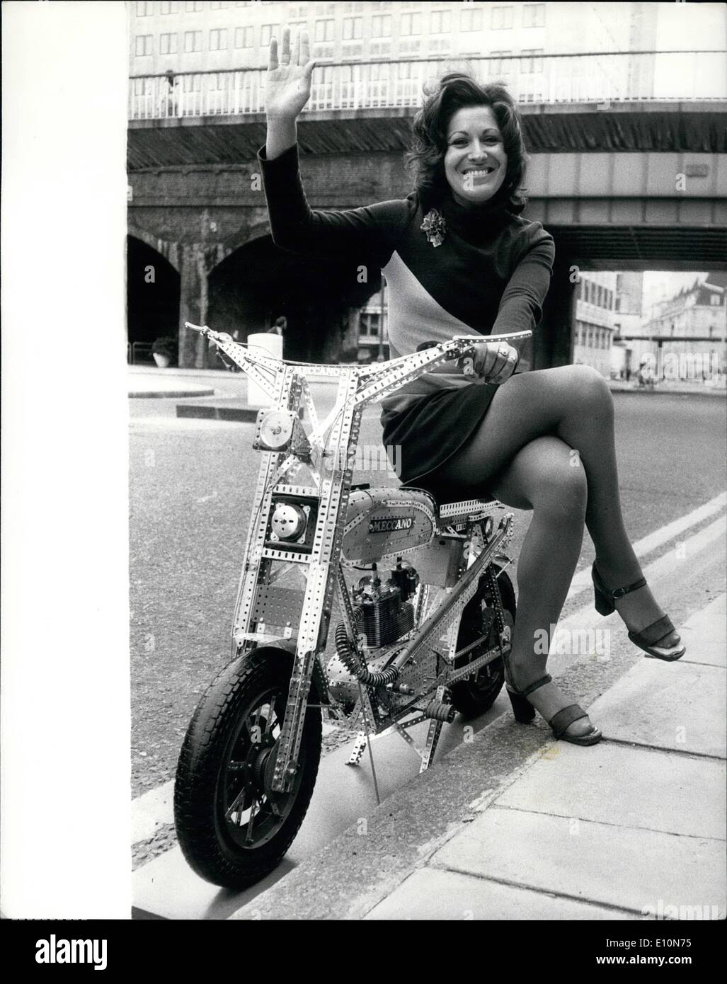 Jul. 07, 1973 - The Meccano Motor Cycle: One of the showpieces at today's Airfix/Meccano Press show at the Royal Festival Hall, - Stock Image