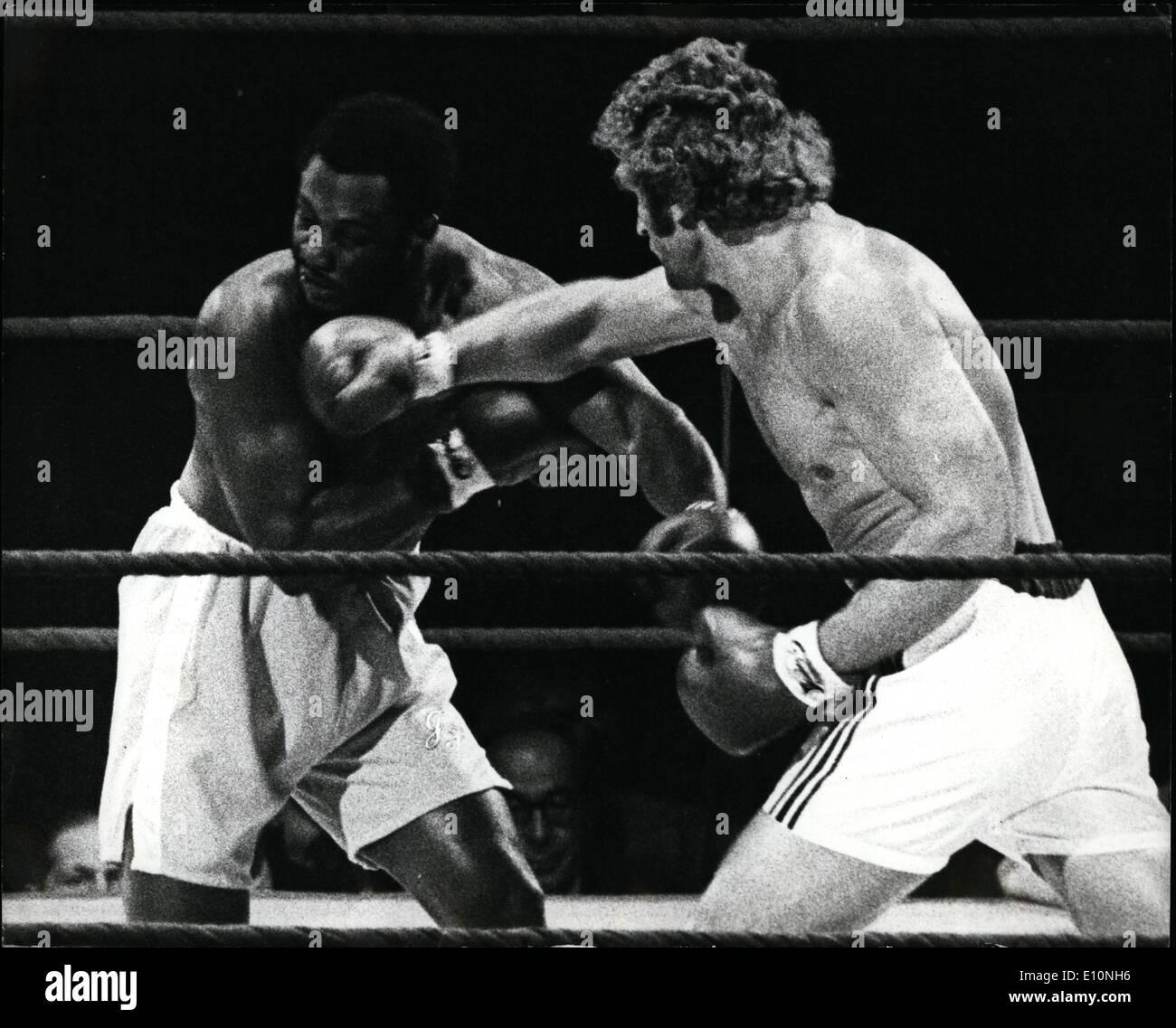 Jul. 07, 1973 - Joe Frazier beats Joe Bugner on Points . Joe Bugner the European heavyweight Champion was beaten on points over - Stock Image