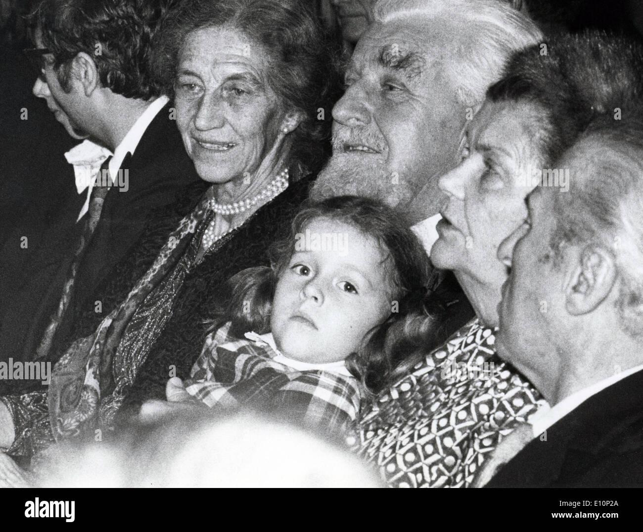 Nov. 5, 1973 - Zurich, Switzerland - Behaviorist KONRAD LORENZ sitting with his wife and family at his 70th birthday celebration. On the right is German writer CARL ZUCKMAYER. - Stock Image