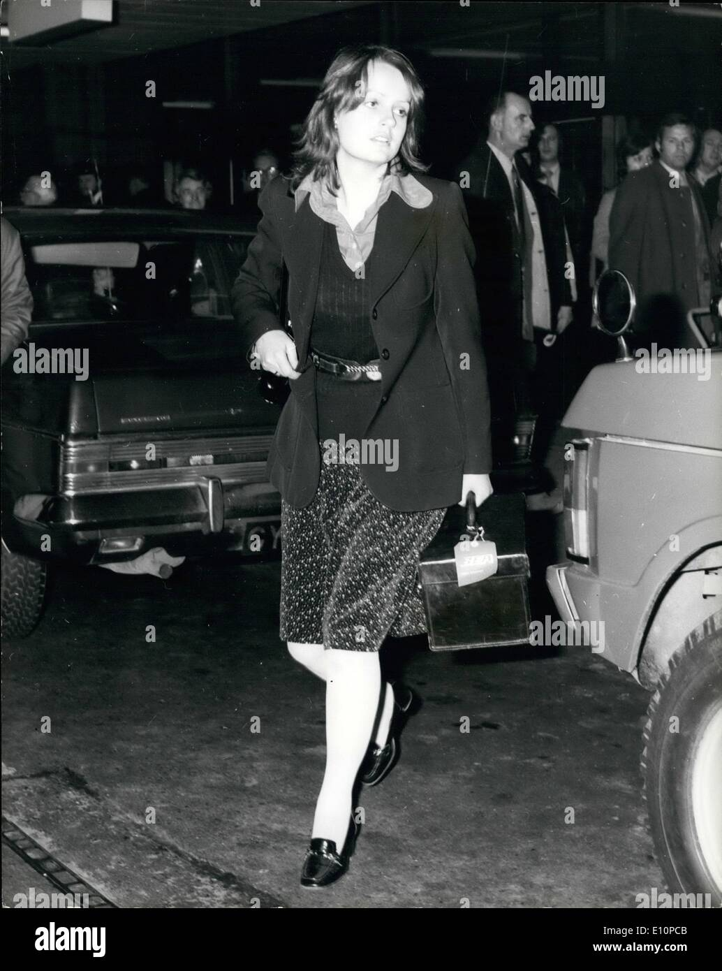 Nov. 11, 1973 - PRINCE CHARLES AND LADY JANE WELLESLEY ARRIVE BACK FROM SPAIN. PRINCE CHARLES and LADY JANE WELLESLEY arrived back from Spain yesterday on the same scheduled flight. Lady Jane, 22 year old daughter of the Duke of Wellington, denied rumors of a romance. The Prince stayed on the Duke of Wellington's estate near Granada, and was often in the company of Lady Jane on shooting excursions. PHOTO SHOWS:- PRINCE CHARLES leaving Heathrow Airport after arriving from Spain yesterday. - Stock Image
