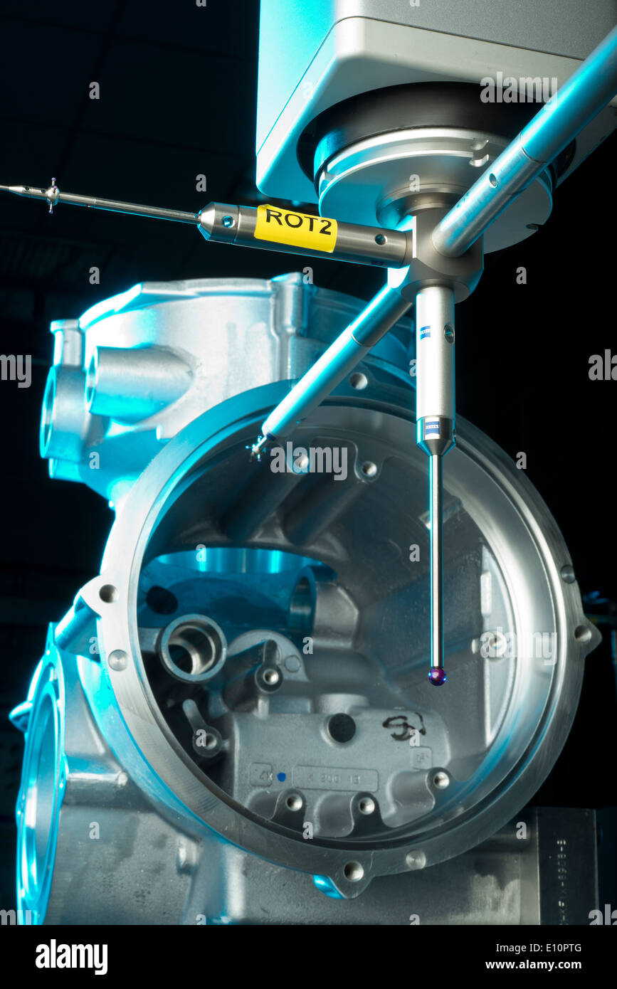 Air compressor housing being tolerance tested for precision engineering - Stock Image