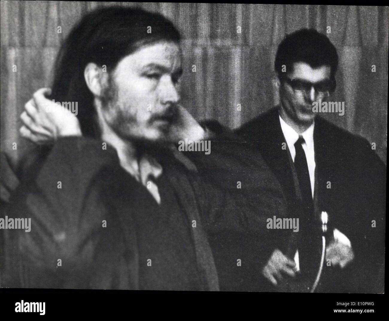 Sep. 24, 1973 - Another trial against member of anarchistic Baader-Meinhoff group, started on Sept. 24, 1973 in Munich: Mr. Gerd Pohle, 31, formerly an attorney himself, is accused of having bought weapons and equipment for the anarchistic reunion. Safety measures taken by Munich police were very strict for this trial. Yet they could not prevent tumult and protests among the spectators, mostly young people and students who sympathise with the defendant. Several of them were arrested on account of contempt of court - Stock Image