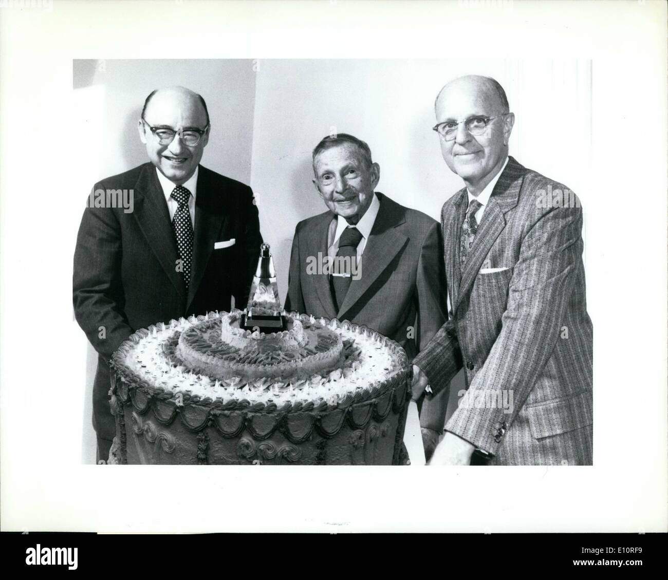 Oct. 10, 1973 - CENTENARY CELEBRATION. Dr. William D. Coolidge, famed inventor of the ductile tungsten used for filaments in virtually all electric lamps and of the Coolidge X-ray tube which made possible modern medical and industrial X-ray technology, observed his 100th birthday in Schenectady, N.Y., on October 23. Dr. Coolidge joined the staff of the General Electric Research Laboratory in 1905, and was its director from 1932 to 1945. He was succeeded by Dr. C. Guy Suits (right), director until 1965, and by Dr. Arthur M - Stock Image