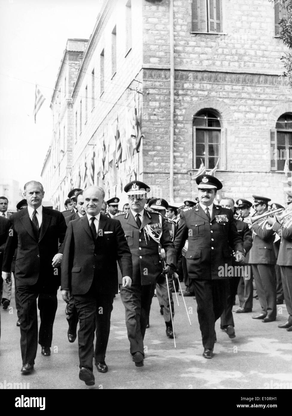 Greek Premier ADAMANTIOS ANDROUTSOPOULOS, accompanied by the Chiefs of the Gendarmerie and police - Stock Image