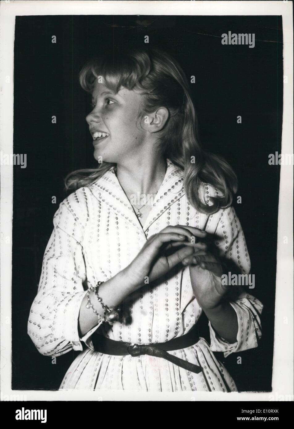 Jan. 01, 1974 - Hayley Mills - Makes her first disc; Talented daughter of film star John Mills, Hayley went to a London recording studio today to make her first recordings. She sang the title song of the Disney film Pollyanna, in which she stars and which will have its West end Premiere in August. Between spells before the microphone Hayler practised on the piano and went over the score with pianist Dennis Wilson, of the Wally Stott Orchestra. With Hayley was her mother - Stock Image
