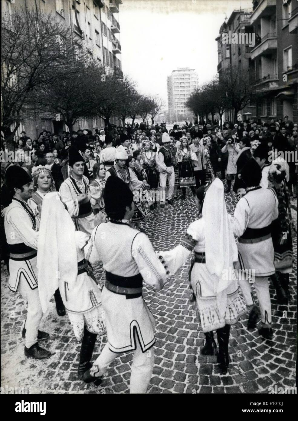 Jan. 01, 1974 - ELECTION FOR PEOPLE'S COUNCILS IN BULGARIA: The elections for People's Councils in Bulgaria passed in an atmosphere of genuine enthusiasm. Photo shows folk dances outside the polling station in ''Dimitar Polyanov'' Street in Sofia. - Stock Image