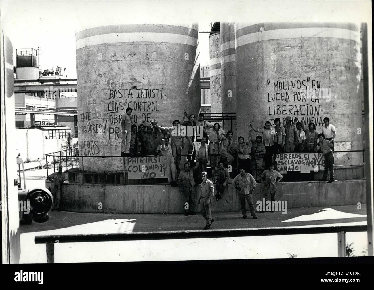 Jan. 01, 1974 - Photo shows Workers outside the Avellaneda factory, down town Buenos Aires, demonstrate for better working conditions versus The factory produces  oil. Argentina Has A Lot Of Problems: Beside the extronist activities there are continuing the workers agitation who many times occupy the factory where they are working due to the un-executing of laboral disposition - Stock Image