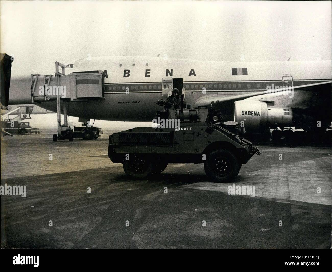 Jan. 04, 1974 - Tanks Surround Sabena Planes Brussels National Airport Stock Photo