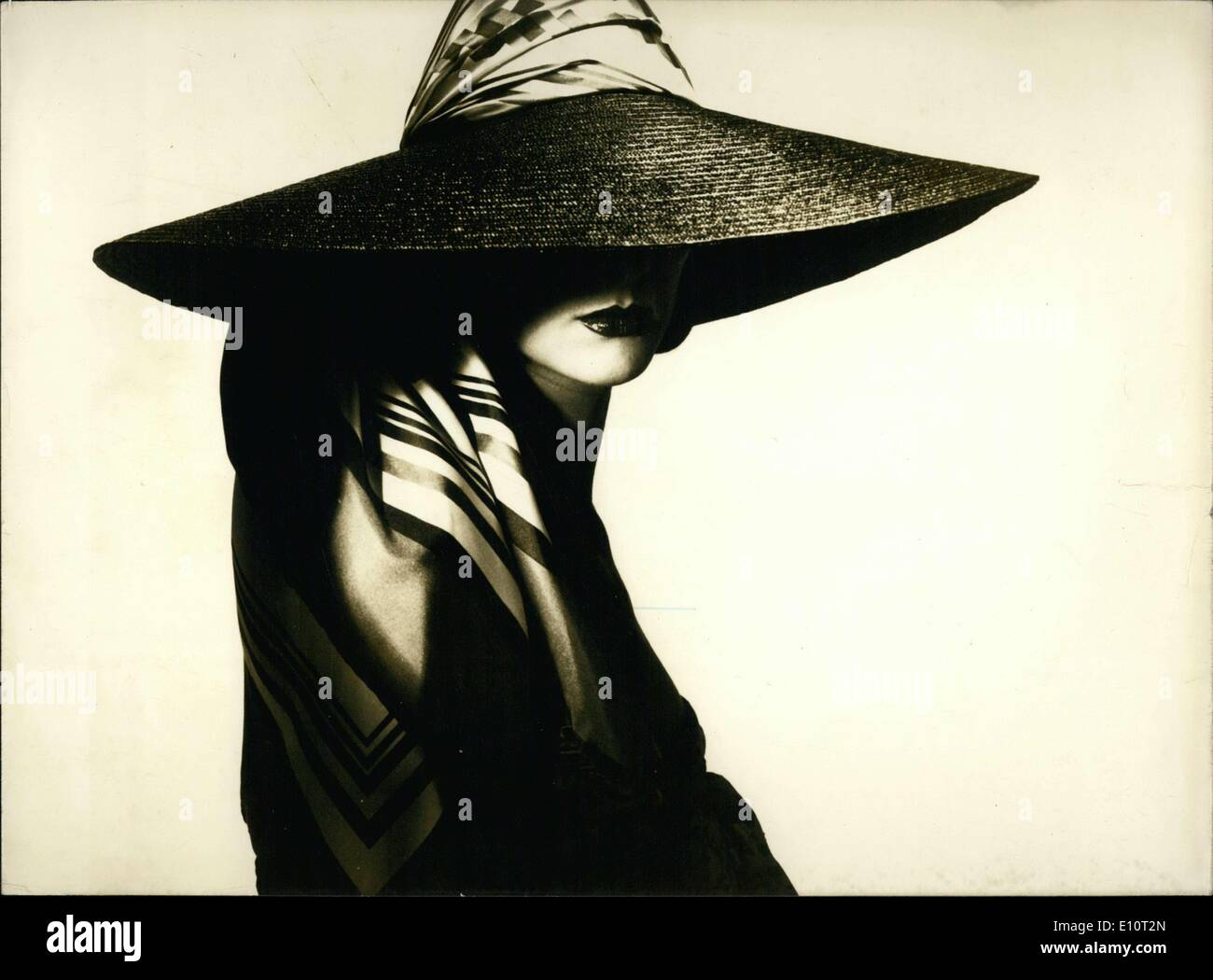 49e3f86f Jan. 07, 1974 - Jean Patou's Wide Brimmed Straw Hat Stock Photo ...
