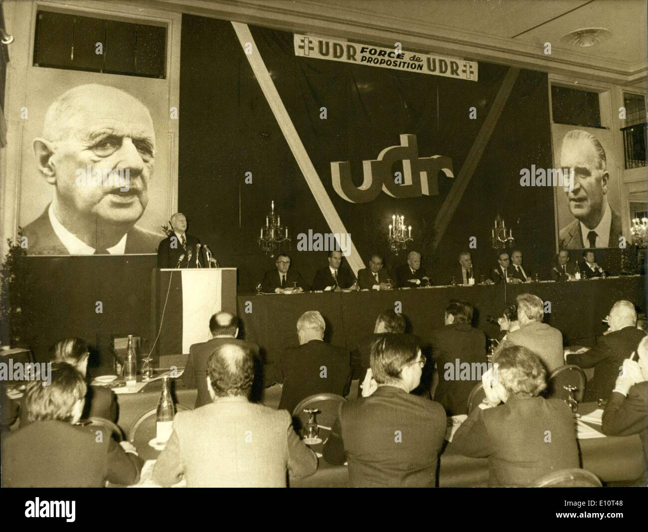 Jan. 19, 1974 - The central committee of the Union of Democrats for the Republic (UDR) met this morning at the Intercontinental - Stock Image