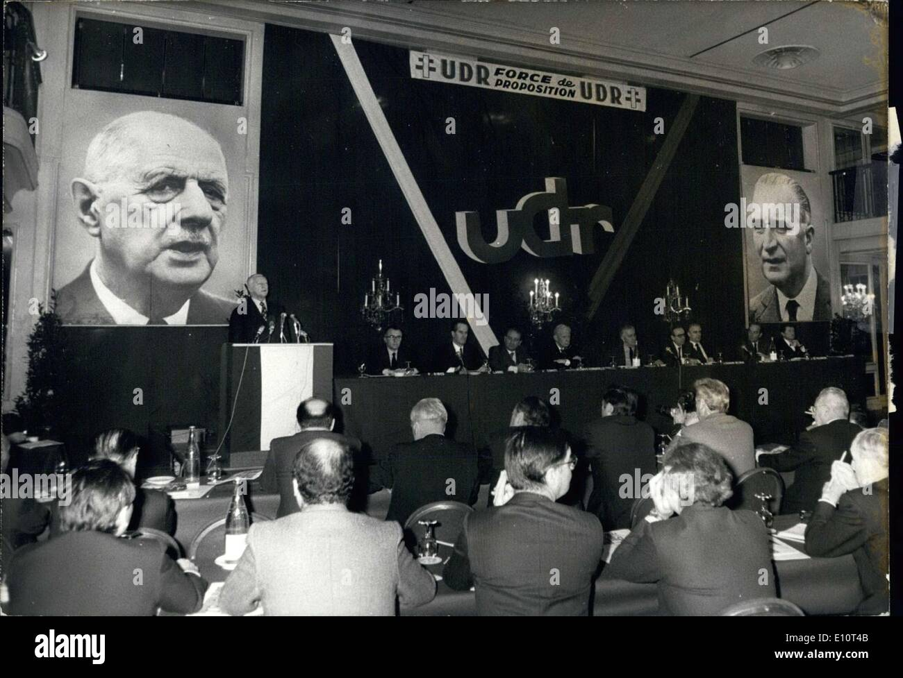 Jan. 19, 1974 - Meeting of Democrats of the Republic & Pierre Messmer. - Stock Image