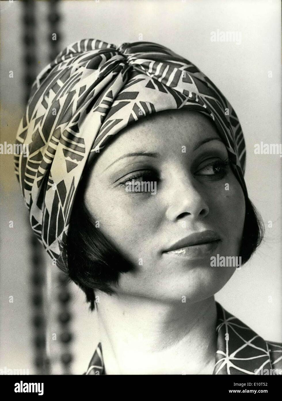 Jan. 26, 1974 - Printed Pink & Green Turban by Carven - Stock Image