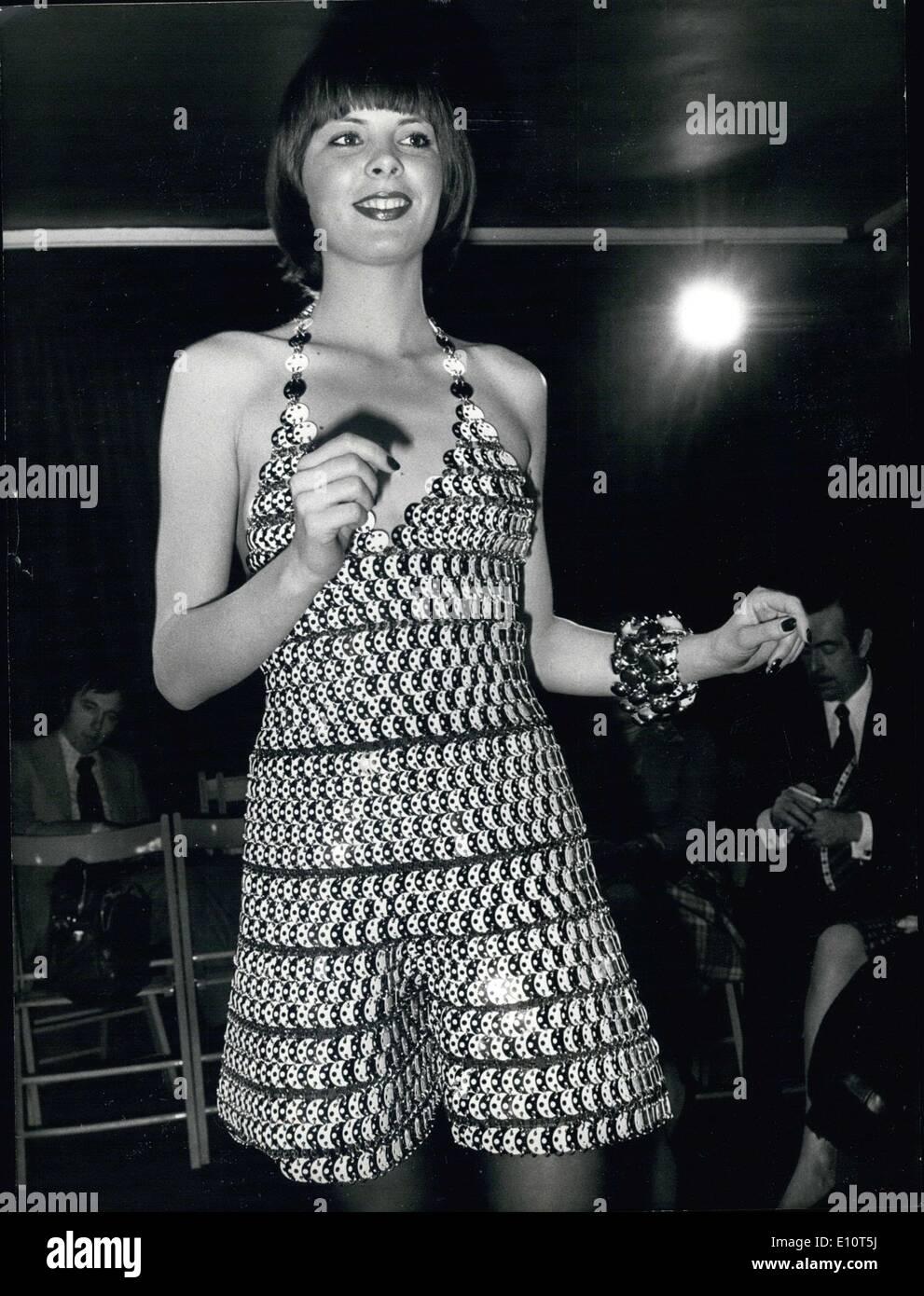 Feb. 01, 1974 - Model Wearing Plastic Black White Dress Pants by Paco Rabanne .c - Stock Image